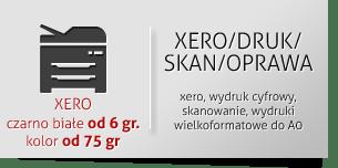 xero, wydruk cyfrowy, skanowanie, wydruki wielkoformatowe do A0 XERO czarno-białe od 6gr kolor od 75gr